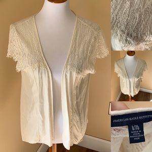 AE cream lace lightweight cardigan. L/XL
